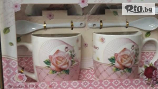Комплект от 2 порцеланови чаши Happy #1