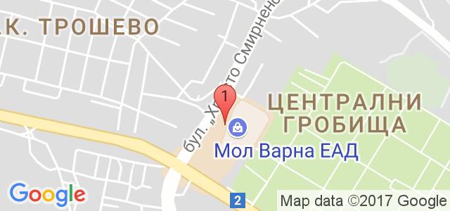 Тенис клуб и кафе Мол Варна Карта